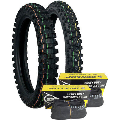 Dunlop NEW Geomax Mx MX52 100/100-18 & 80/100-21 Off Road Tyres + FREE Tube Set