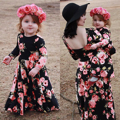 Family Matching Clothes Women Girl Mother Daughter Party Maxi Dress Clothes AU
