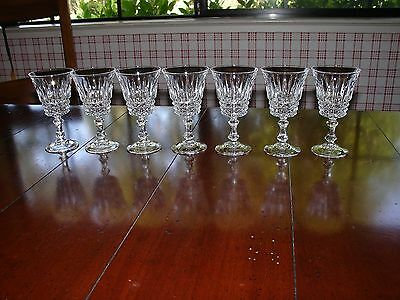 Cristal d'Arques  J.G. Durand  7 Cordial Size Glasses in Tuileries Pattern