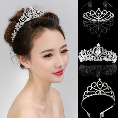 NEW Women Girl Rhinestone Tiara Hair Band Bridal Princess Prom Crown Headband UK