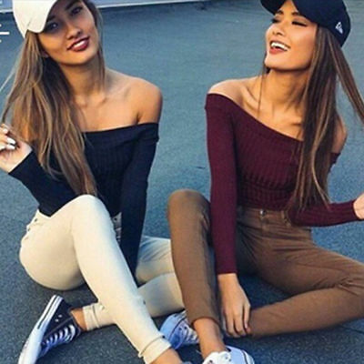 Fashion Women Sexy Long Sleeve T-shirt Slim Off Shoulder Knit Crop Tops Blouse #