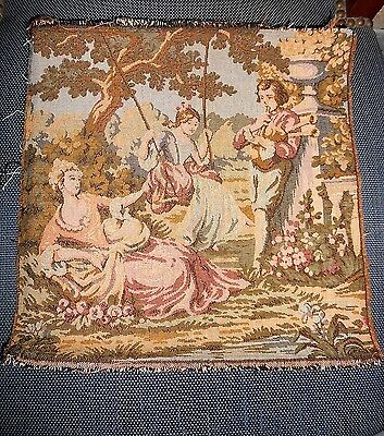 French Vintage Tapestry ELEGANT Scene - marked  FRANCE -