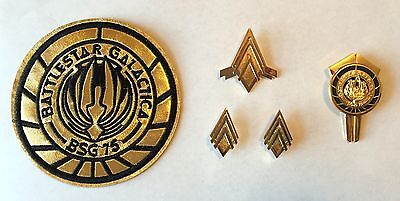 Battlestar Galactica Captain Rank Pins, Junior Officer Wings, Dress Pin & Patch