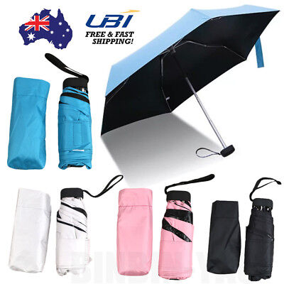 Mini Pocket Super Light 5 Folding Compact Anti UV Sun Rain Umbrella Travel AU