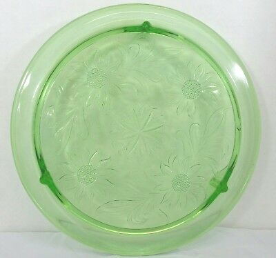"""Vintage Green Depression Glass 15"""" Footed Cake Plate Daisy Etch Sunflower Flower"""