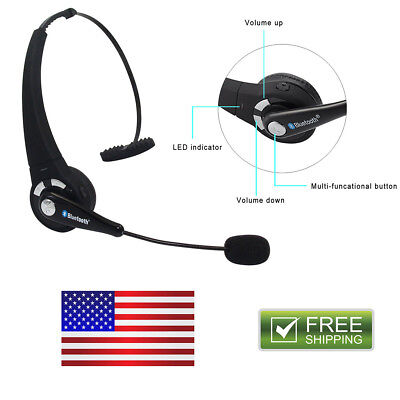 Trucker Over Headphones Wireless Bluetooth Boom With Mic Blue Parrot Headset