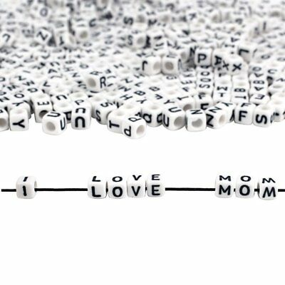100pcs/bag Cube Beads Sewing Alphabet Makings White Acrylic  Black Letter