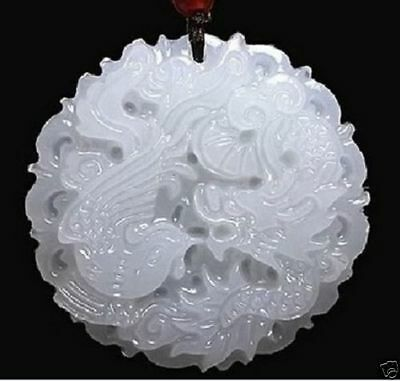 Fine Chinese natural hand-carved Chinese jade pendant - dragon Phoenix Natural