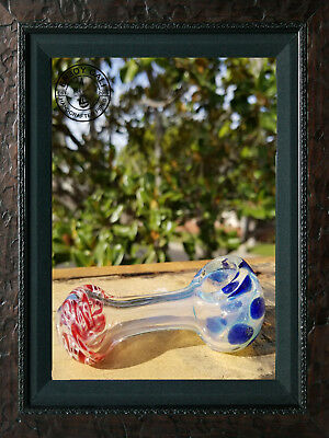 """4"""" INCH TOBACCO Smoking Pipe Herb bowl Glass Hand Pipes New red/blue"""