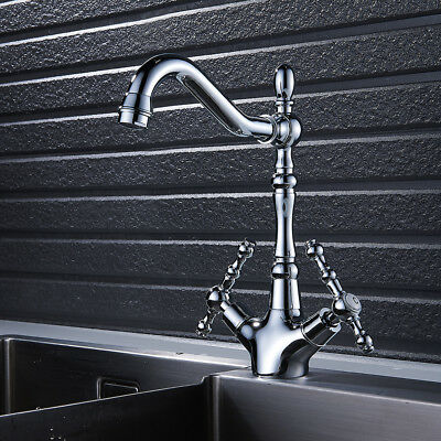 Traditional Kitchen Sink Mixer Taps Georgian Antique Chrome Twin Duel Lever Tap