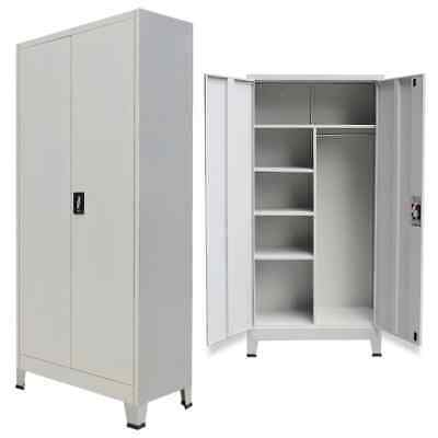 vidaXL Locker Cabinet with 2 Doors Steel Grey Office Storage Organiser Unit
