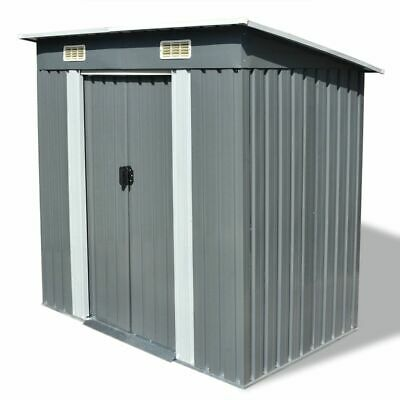 vidaXL Garden Storage Shed Grey Metal 190x124x181cm Outdoor Tool Cabin Room