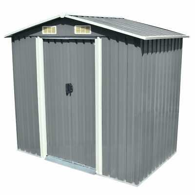 vidaXL Garden Storage Shed Grey Metal 204x132x186cm Outdoor Tool Cabin Room