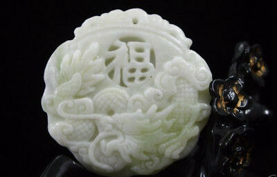 Fine Chinese natural old whitem Jade Carved Amulet Pendant Dragon
