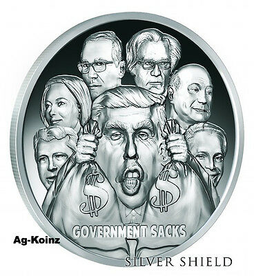 1 oz 2017 Government Sacks Proof Death of the Dollar # 9 Silver Shield 999 Trump