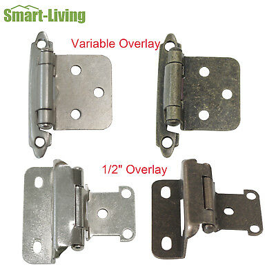 """Nickel/Antique Bronze Cabinet Hinges 1/2"""" Overlay Variable Overlay Self Closing"""