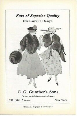 C G Gunther's Sons New York City Furs Superior Quality Design 1916 Vintage Ad