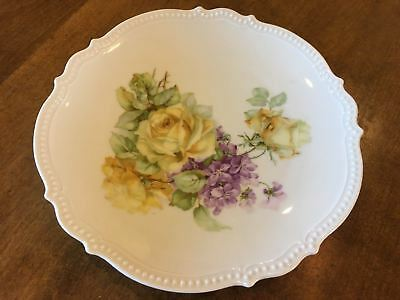 """Antique P.K. Silesia Marked Hand Dated 1910 Roses 8.5"""" Salad Dessert Plate EUC"""