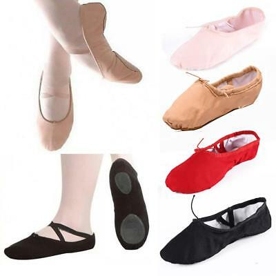 Adult Child Canvas Soft Ballet Dance Slippers Pointe Gymnastics Shoes TS #Z