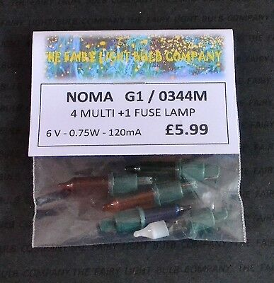 NOMA G1 PUSH-IN 6V PLUS 5V FUSE 0344 SPARE BULBS 5 PACK Red Blue Pink Multi