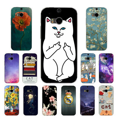 Soft TPU Silicone Case For HTC One M8 M8S Protective Back Covers Skins Cats