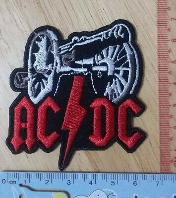 AC DC bolt tunder big gun logo rock music Embroidered Iron/Sew on Patch 7 cm.