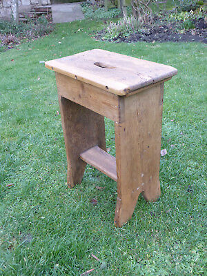 Vintage Oblong Top Beech Stool on Turned Straight Legs