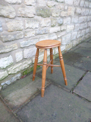 Victorian Elm + Beech Stool. Round, Dished Top on  Turned Legs.
