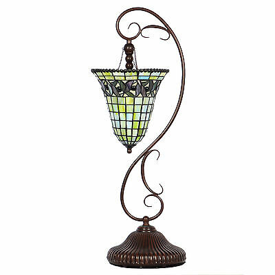 "27"" Tall Table Accent Lamp Stained Glass Art Deco Style Pendant Antique Bronze"