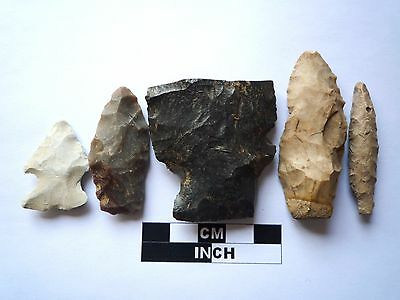Native American Arrowheads x 5, Genuine Archaic Artifacts, 1000BC-8000BC (975)
