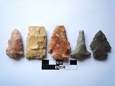 Native American Arrowheads x 5, Genuine Archaic Artifacts, 1000BC-8000BC (970)