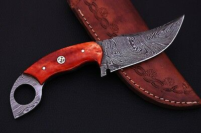 Damascus steel BLADE FIXED BLADE, HUNTING SKINNER KNIFE DYED BONE HANDLE