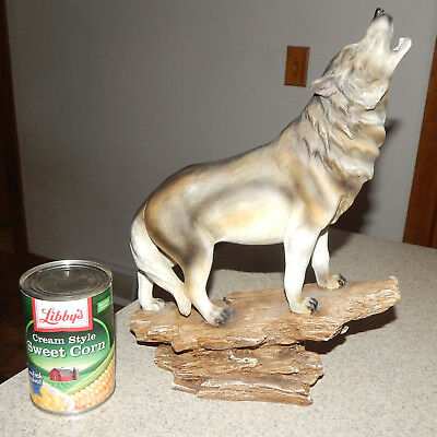 """Rustic Faux Wood Resin Wolf Statue 13 1/2"""" Tall"""