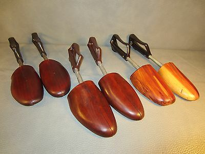 3 Pair of Vintage Wooden Spring-loaded Shoe Trees