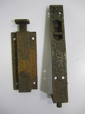 Antique VTG French Door -Spring & Slide Bolt Latch Pair --Victorian, Eastlake?
