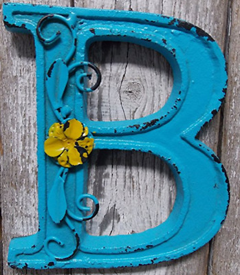 "Blue Cast Iron Wall Letter ""B"" Retro Art 6"" Vintage Style Marquee"