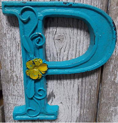 "Blue Cast Iron Wall Letter ""P"" Retro Art 6"" Vintage Style Marquee"