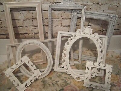 ~Lovely Lot 9 Vintage Antique & Ornate Chippy White Frames! Wedding Farmhouse~