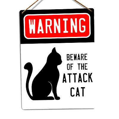 Beware Of The Attack Cat - Metal Wall Sign Plaque Pet Animals Warning Cute Dog