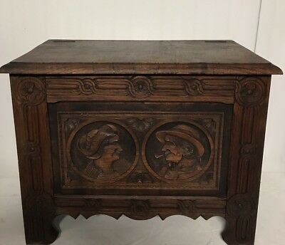 Antique French Breton Brittany Heavily Carved Chest ~Trunk C.late 19th century