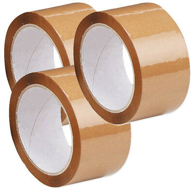 Brown Buff Tape Parcel Packing Packaging Sellotape Box Sealing 48MM x 66M Rolls