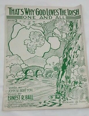 That's Why God Loves the Irish One And All Antique Sheet Music 1919