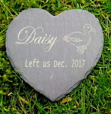 Personalised Engraved Slate Stone Heart Pet Memorial Grave Marker Plaque Duck
