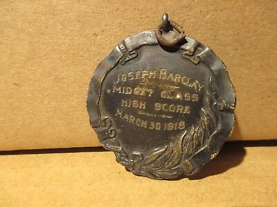 Vintage 1918 YMCA Metal Sterling Silver Joseph Barclay Midget Class High Score