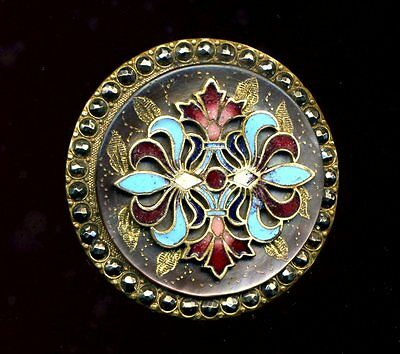Deluxe & Gorgeous...Large Pearl Button with Enamel Overlay and Cut Steel Border