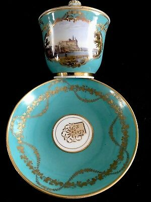 Extremely Rare Antique Extra  Large Meissen Scenic Of Meissen 18 Century