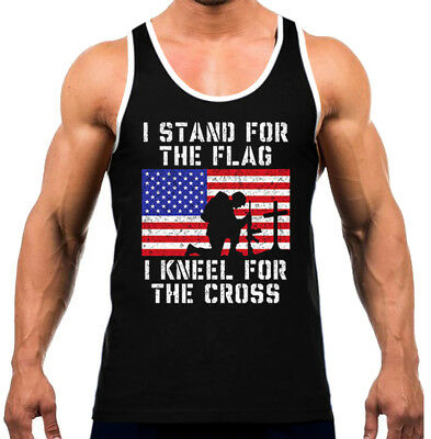 Men's I Stand For The Flag I Kneel For The Cross Black Tank Top WT Army Soldier