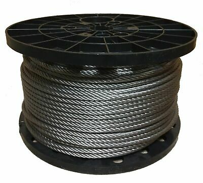 """3/8"""" Stainless Steel Aircraft Cable Wire Rope Type 7x19 Type 316 (500 Feet)"""