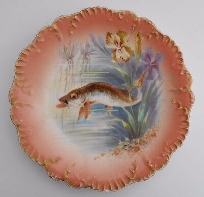 Limoges Fish Plate French Porcelain Laviolette Factory Hand Painted Fish #2