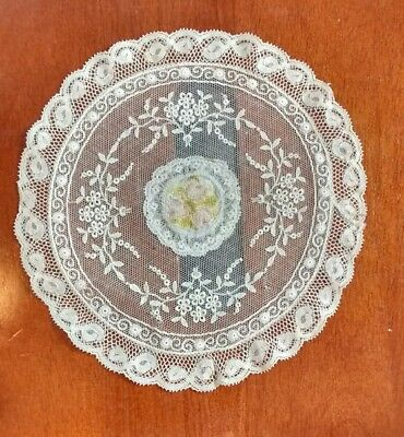 Vintage Petit Point Embroidered Tambour Lace Netting Ivory Doily